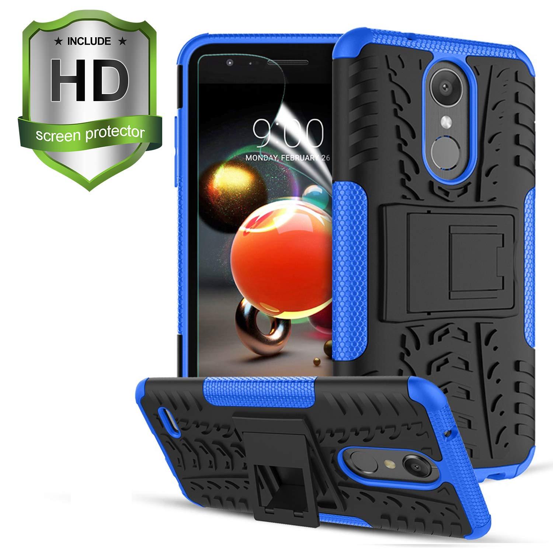 LG Aristo 2 Case,LG Aristo 3 Case,Rebel 4 LTE/Aristo 2 Plus/Aristo 3+/Fortune 2/Phoenix 4/Tribute Dynasty/Zone 4/K8 2018/K8+/Tribute Empire,W/Screen Protector Kickstand Shockproof Phone Cover,Blue
