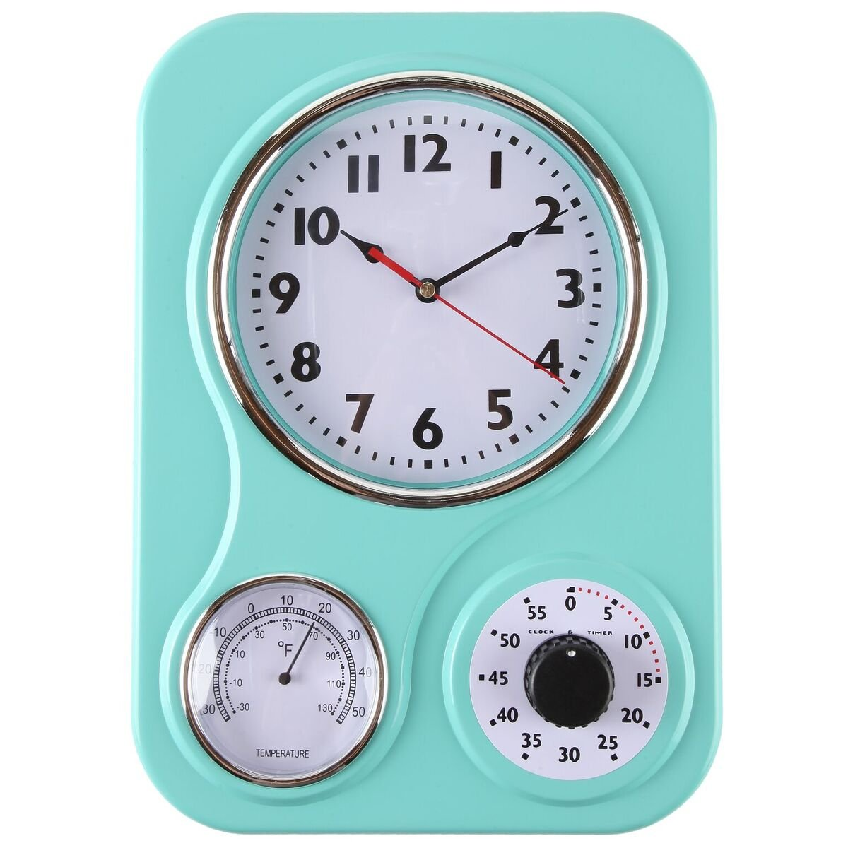 Lily's Home Retro Kitchen Wall Clock, with a Thermometer and 60-Minute Timer, Ideal for any Kitchen, Turquoise (9.5 in x 13.3 in)