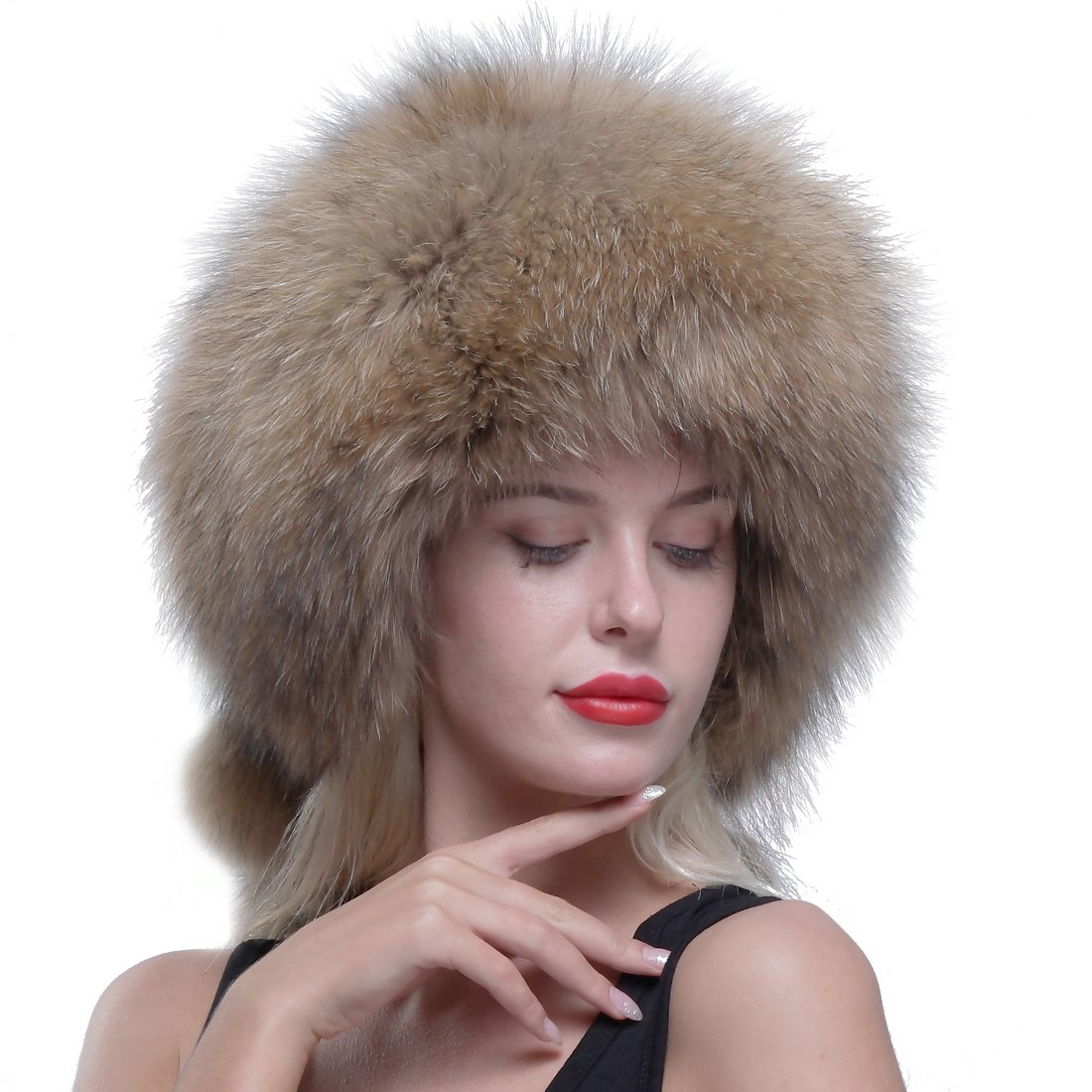 URSFUR Genuine Raccoon Fur Russian Ushanka Trapper Hat Cap with Fur Ball Pompom .Ltd. 2016-H-014-1