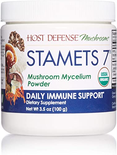 Host Defense, Stamets 7 Mushroom Powder, Daily Immune Support, Certified Organic Supplement, 3.5 oz 66 Servings