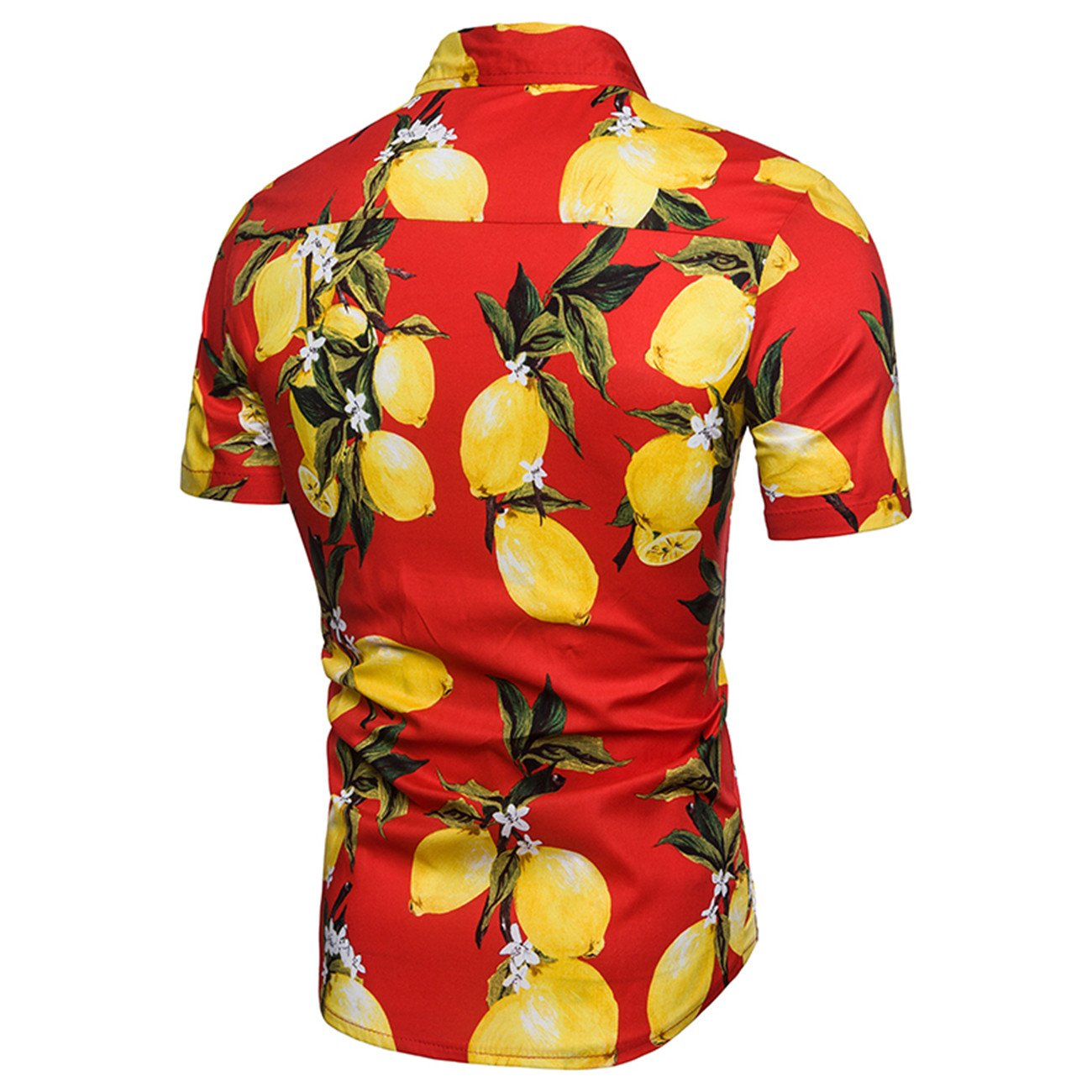 Mens Fruit Printing Beach Style Leisure Short-Sleeved Shirt