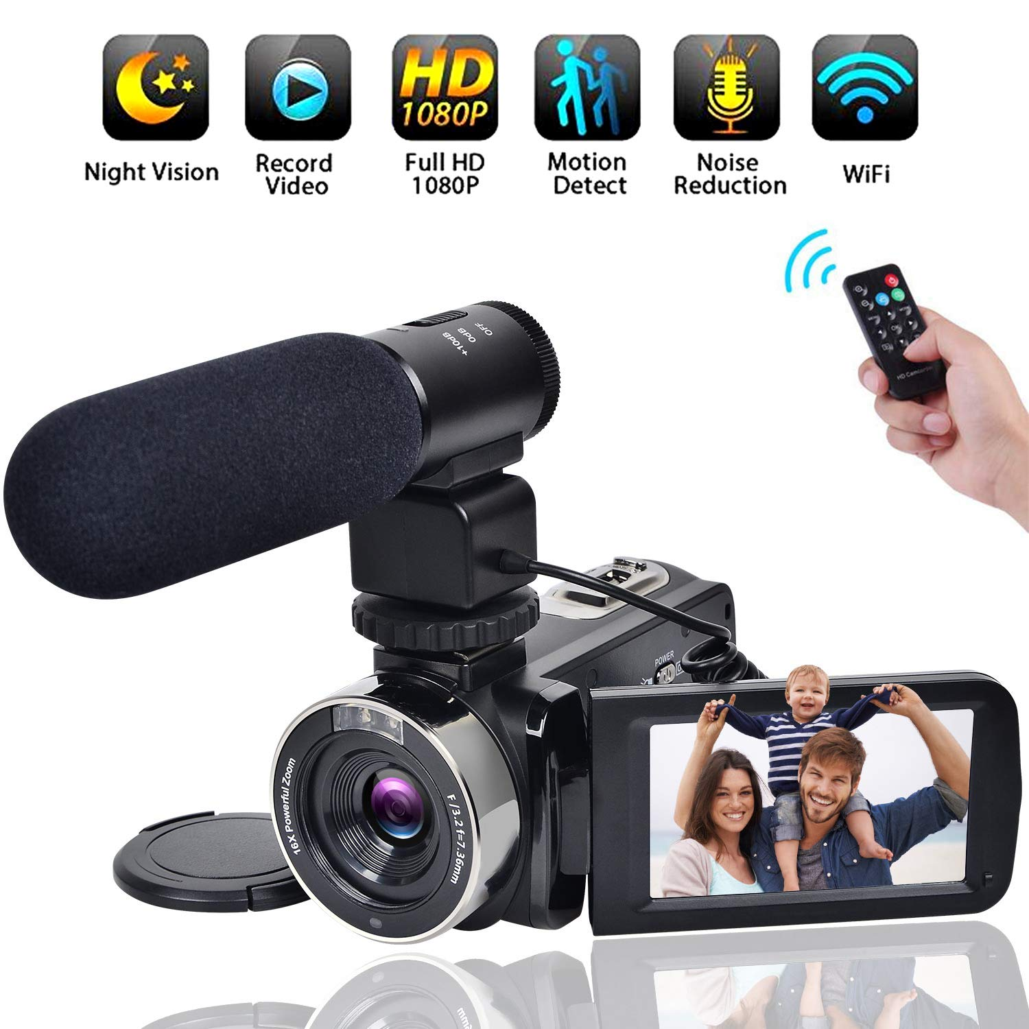Video Camera WiFi Camcorder Comkes Full HD 1080P 30FPS Vlogging Camera 24MP 16X Digital Zoom 3.0 Inch LCD Touch Screen IR Night Vision with External Microphone and Remote Control by Comkes
