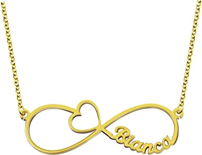 Getname Necklace Personalized Infinity Couples Name Necklace with Cut-Out Heart Custom Made with 2 Name