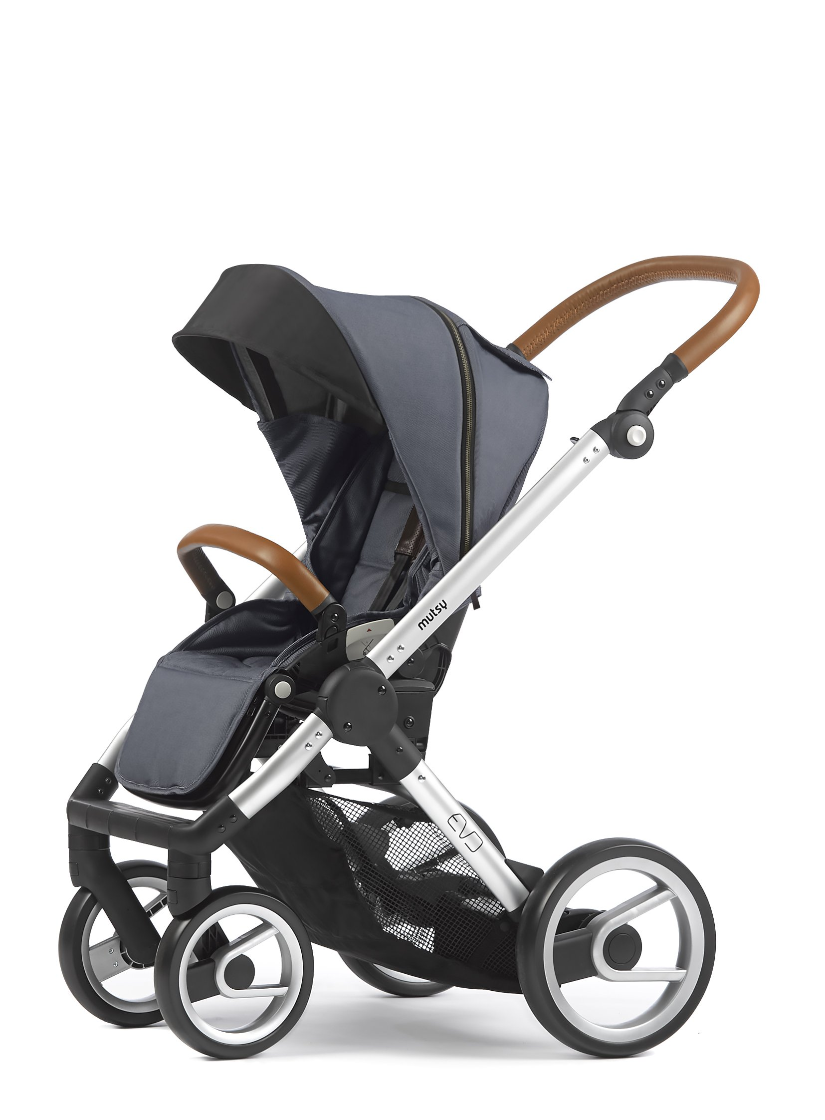 Mutsy Evo Industrial Edition Stroller, Grey with Silver Chassis