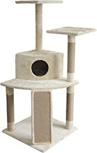 AmazonBasics Cat Tree with Cave, Scratching Posts