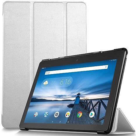 IVSO Funda Carcasa para Lenovo Tab E10, Slim PU Protectora Carcasa Cover para Lenovo Tab E10 10.1 Pulgadas, Blanco