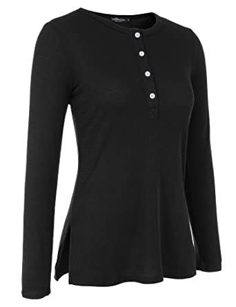 cec0f9b7 Uniboutique Womens Long Sleeve Tunic Sweaters Side Split Button Down  Lightweight Blouse Tops Black S