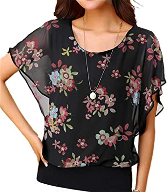 748429baeef Viishow Women Floral Printed Chiffon Blouse Round Neck Short Sleeve Top Shirts  Floral Black XS