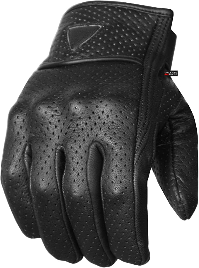 MENS BIKERS PREMIUM PERFORATED LEATHER BLK CRUISER GLOVES W//GEL PALM WATERPROOF