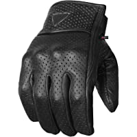 Premium Men's Motorcycle Leather Perforated Cruiser Protective Gel Gloves M