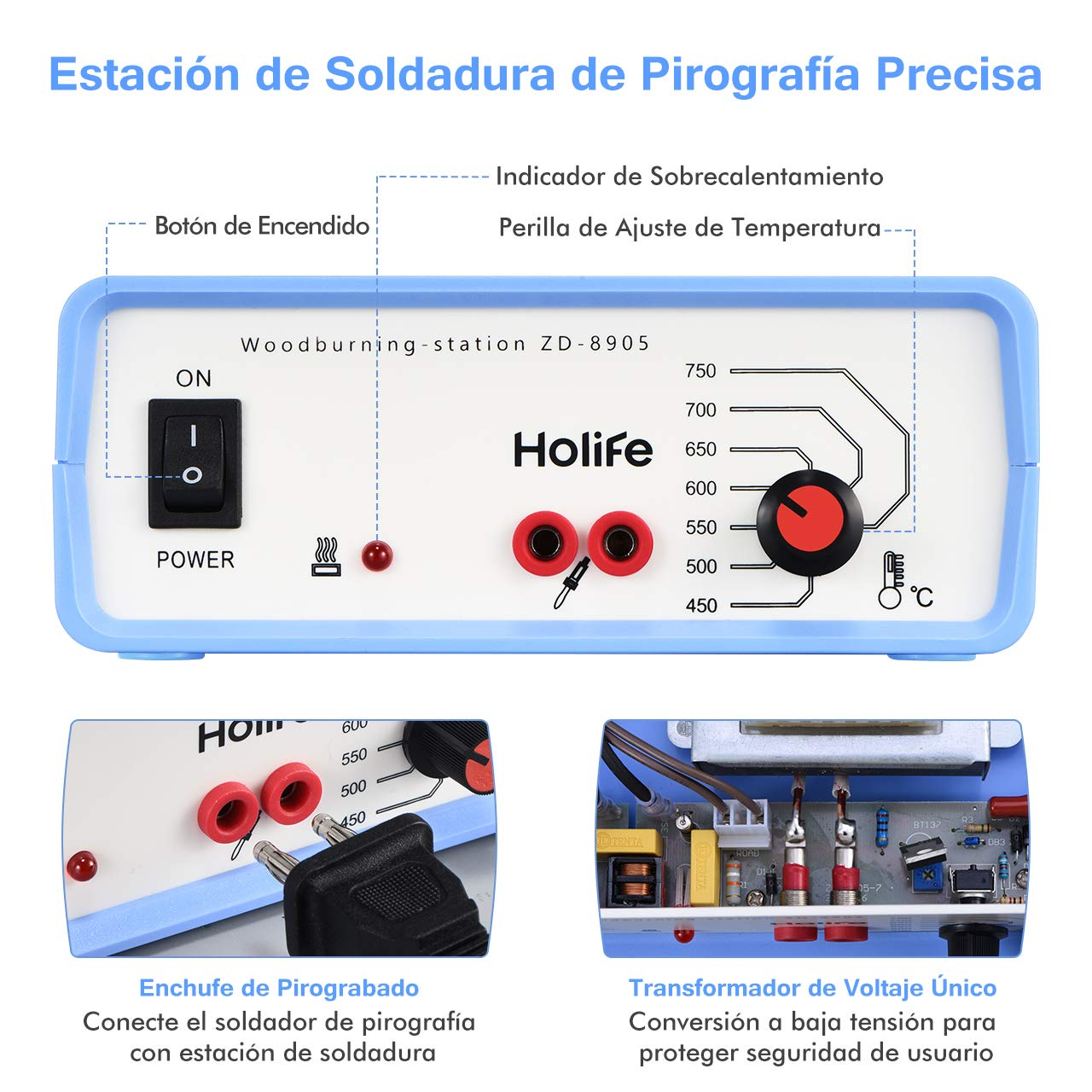 Kit de Pirograbador de Madera, Holife Estación Pirograbada, 40W/220 V con [4 Tornillos+ 3 Puntas de Pirograbada + Soporte], Soldador Pirografo Electrico ...