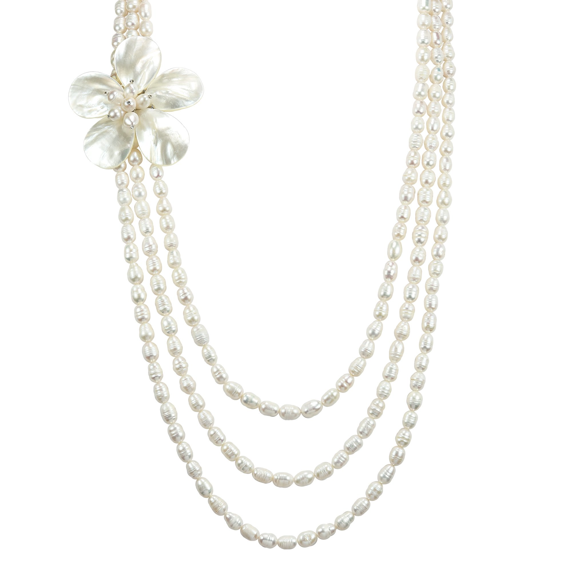 AeraVida Glamorous Floral Mother of Pearl on Triple Strand of Cultured Freshwater Pearl Long Layered