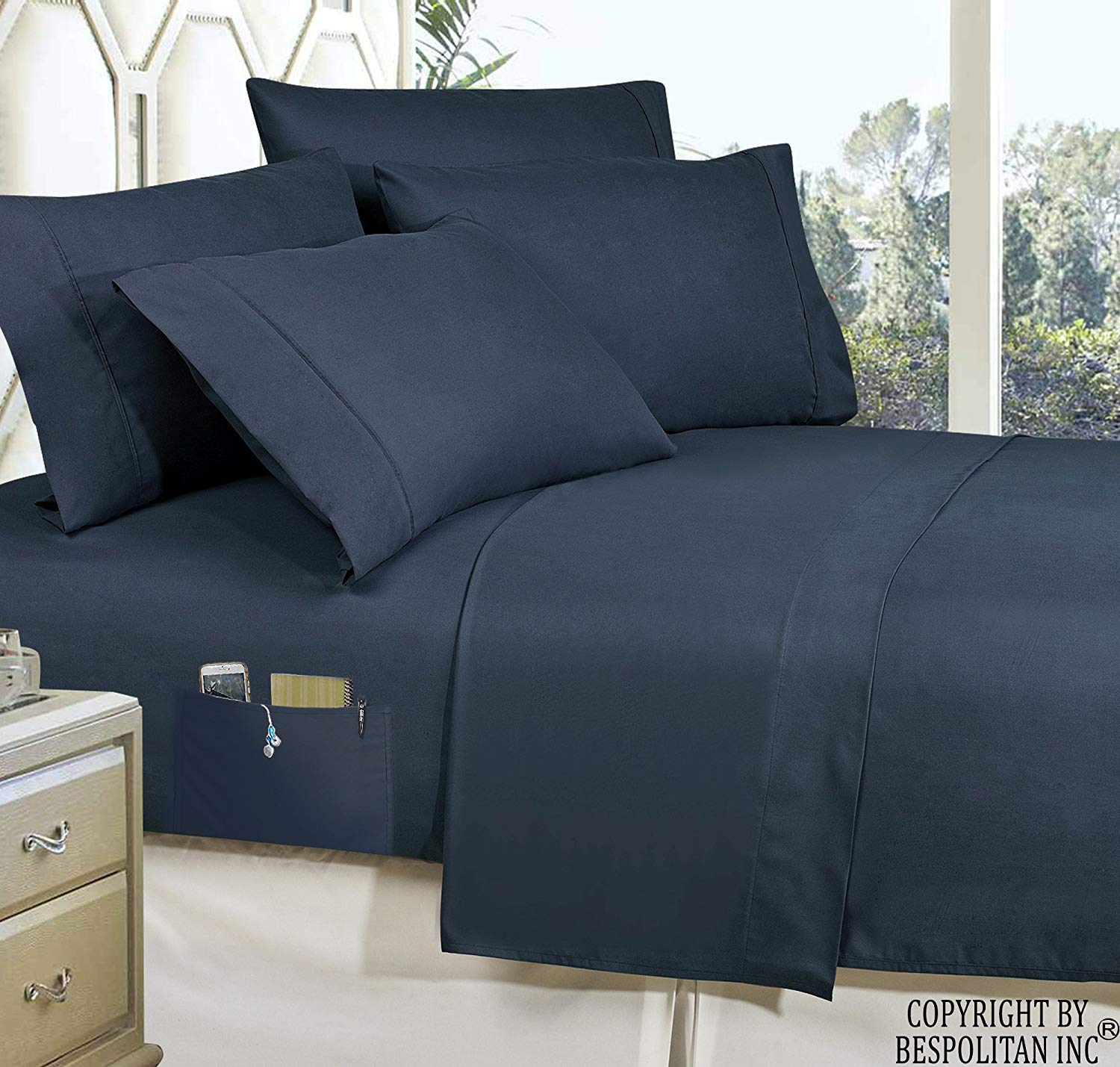 Coziest 6-Piece Bed-in-a-Bag Comforter Set on Elegant Comfort Luxury Best Silky Soft Complete Set Includes Bed Sheet Set with Double Sided Storage Pockets Softest Black Twin//Twin XL