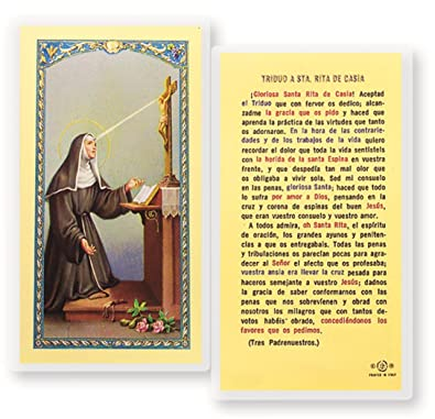 Gifts by Lulee, LLC Triduo a Santa St Rita De Casia Tarjeta De Oracion Bendita Por El Papa Francisco