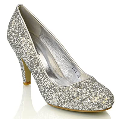 Amazon.com | Essex Glam Womens Mid Low Heel Party Sparkly Glitter Court Shoes | Shoes