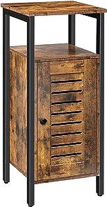 HOOBRO Storage Cabinet, Floor Standing Cabinet, Cupboard, Freestanding Sideboard with Louvered Door and Hidden Adjustable Shelf, Multifunctional for Bedroom, Living Room, Study, Kitchen BF13CW01