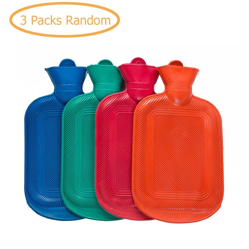 3 Pcs Premium Classic Rubber Hot Water Bottle Set( Color Random) by BERTERI