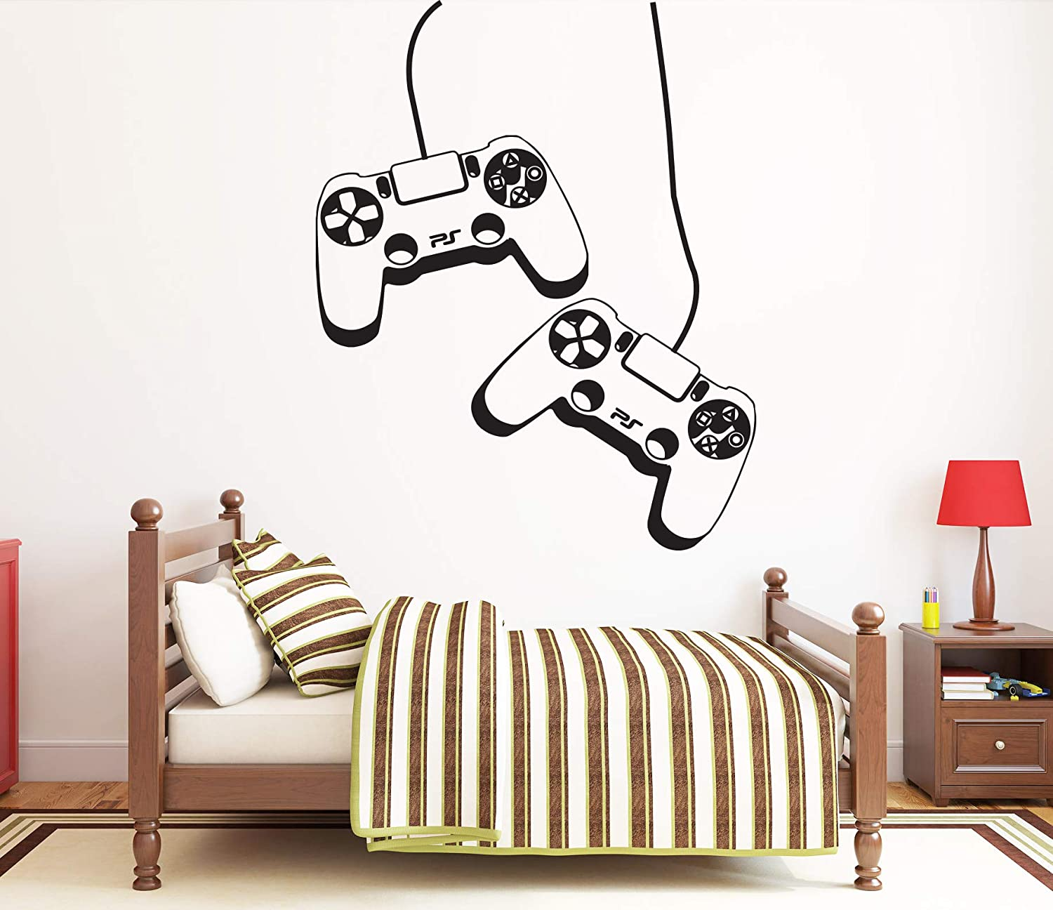 PS4 CONTROLLER WITH NAME vinyl wall sticker art decal childrens  bedroom gaming.