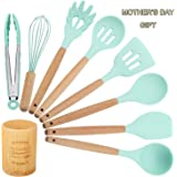 TWICHAN Silicone Kitchen Utensil Set with Bamboo Holder, Spatula Set, Utensil Crocks, Cooking Utensils for Nonstick Cookware, Kitchen Tool Gadget & Set with Wood Handle - Mint Green