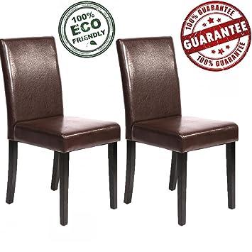 Amazon.com: Juego de 2 sillas de comedor de piel estilo ...