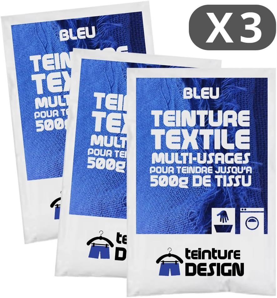 Set de 3 bolsas de tinte textil – Azul – Teintures universales para ropa y telas naturales
