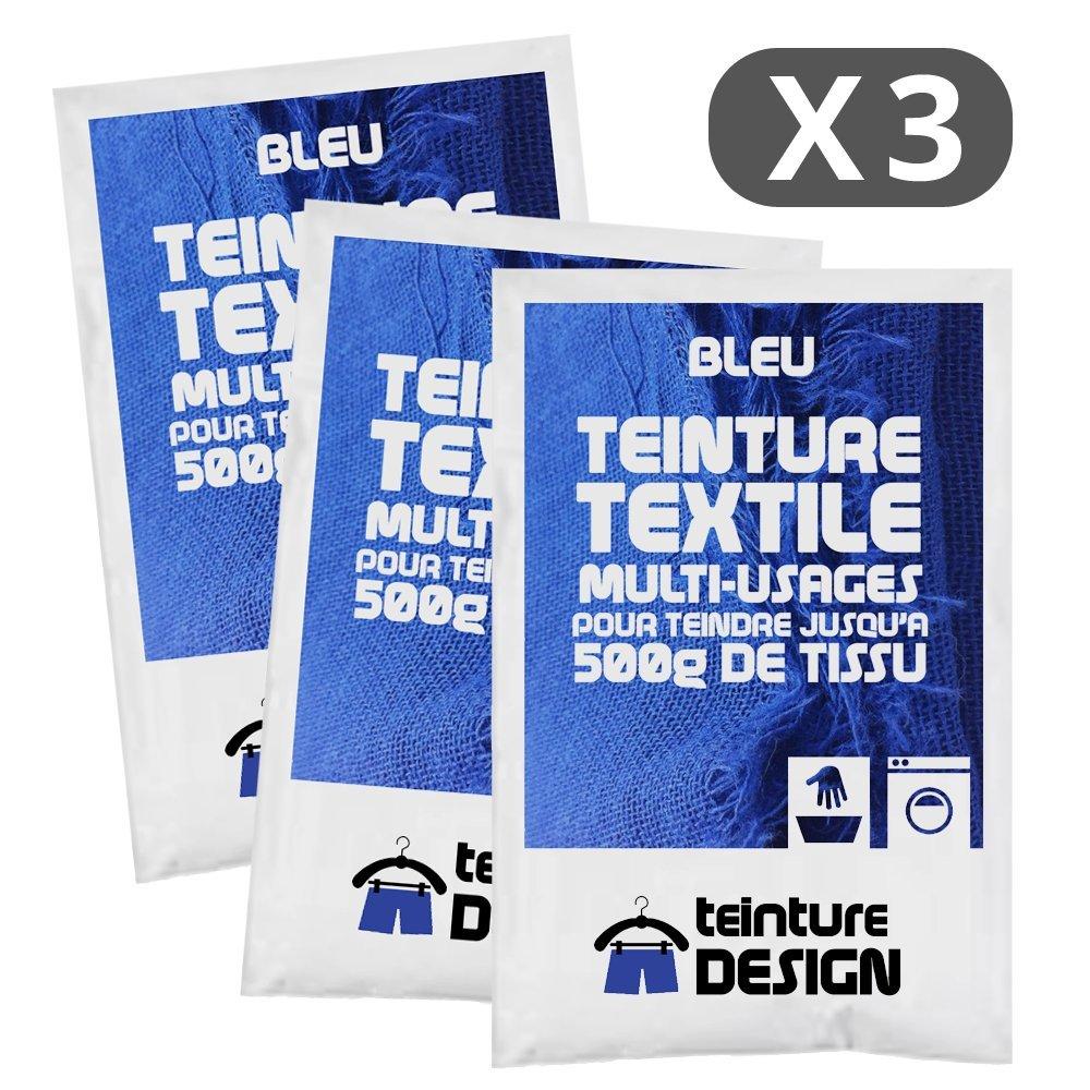 Set de 3 bolsas de tinte textil –  Azul –  Teintures universales para ropa y telas naturales Teinture Design