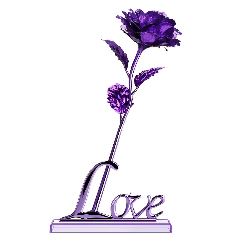 Amazon Prociv Purple Rose Gold Foil 24k Rose Flowers In Gift