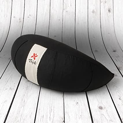 ZAFUKI Cojín Media Luna Marrón, Ideal meditación, Mindfulness, Yoga, Interior cáscara espelta Exterior algodón 100%