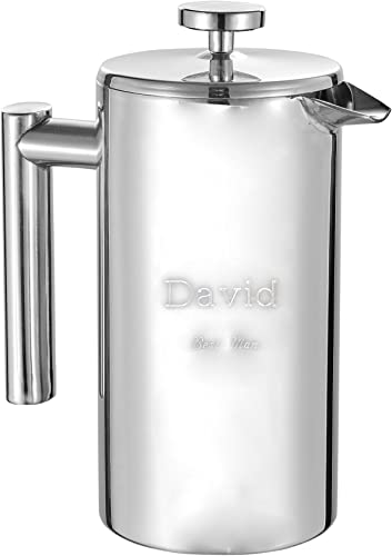 Personalized Stainless Steel Coffee French Press with Free Engraving