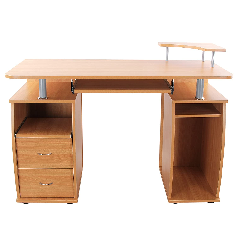 Songmics Bureau Informatique Table De L Ordinateur Avec 2 Tiroirs  # Petit Bureau Avec Tiroir Coulissant