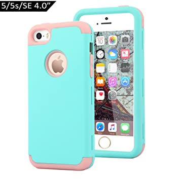 Dailylux Funda iPhone 5s Funda iPhone 5 Funda iPhone SE Carcasa Protector TPU + PC Resistente a los arañazos para el iPhone 5S 5 SE -Wint Erde