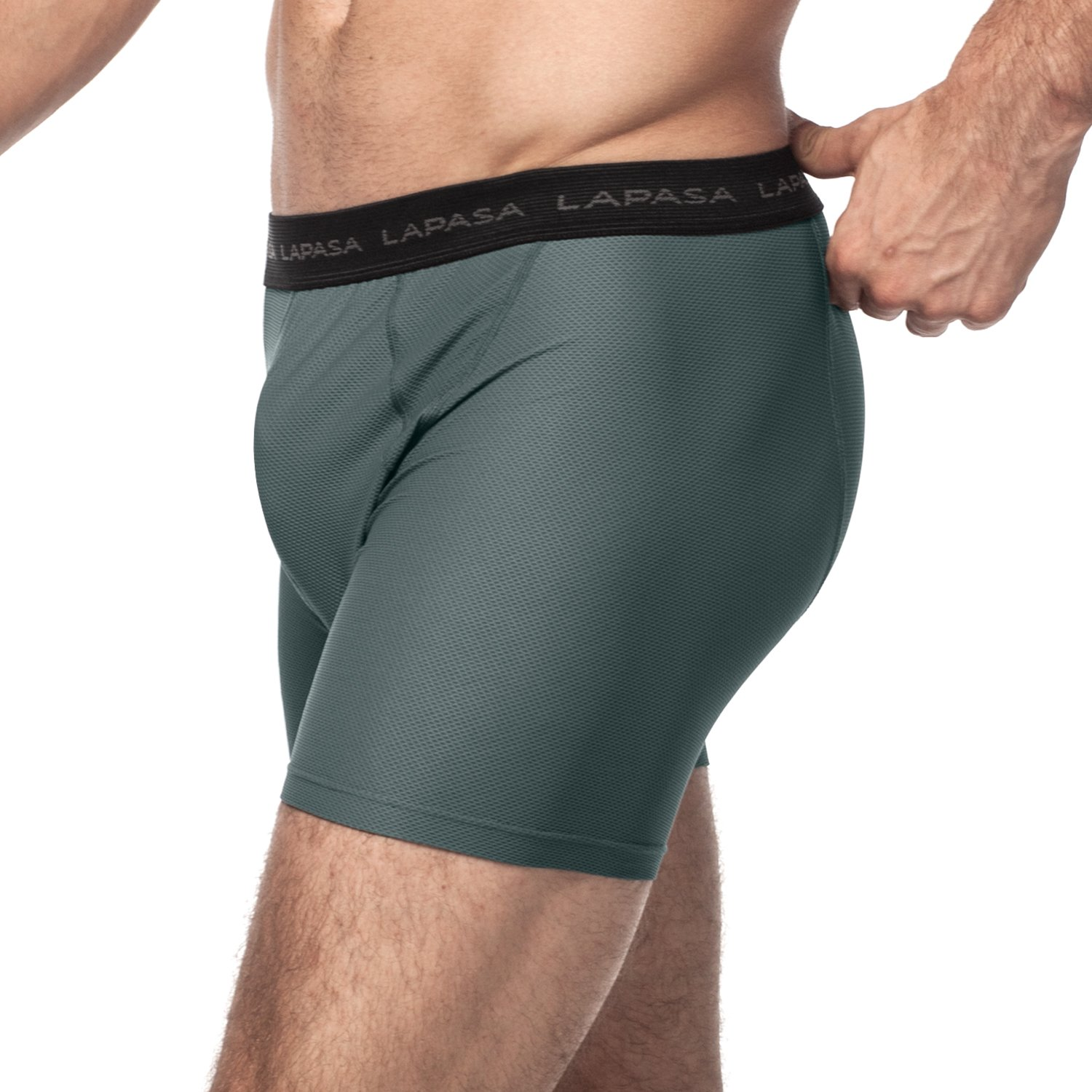 LAPASA 2 Pack Men's Sport Boxer Briefs Mesh Travel Underwear Ultra Quick Dry Breathable Odor Resistant M16 (Small, Gray) by LAPASA (Image #3)
