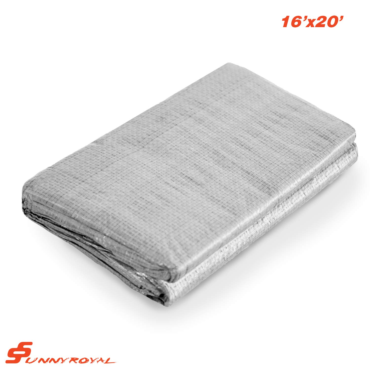 Silver SunnyRoyal 12 x 20 Tarp 10-mil Heavy Duty Thick Material UV Resistant Multi-Purpose Waterproof Reinforced Rip-Stop with Grommets for Tarpaulin Canopy Tent Boat RV or Pool Cover