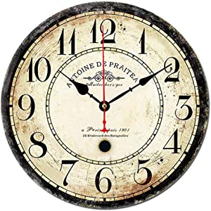 12 inch Vintage Wall Clock, Living Room Kitchen Decor Clock, Silent Battery Operated Digital Round Wall Clock