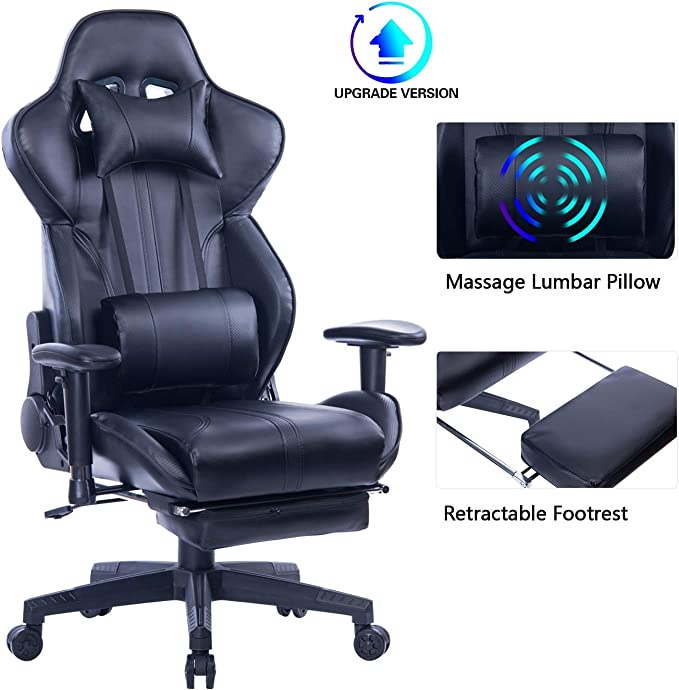 Blue Whale Gaming Chair with Adjustable Massage Lumbar Pillow - Best Lumbar Support