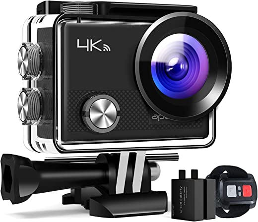 APEMAN Action Camera A77, 4K 20MP Wi-Fi Waterproof 30M with Remote Control Underwater Digital Camera, Hyper Stabilization Camera, 2 Inch 170 Degree Wide Angle View with 20 Accessories