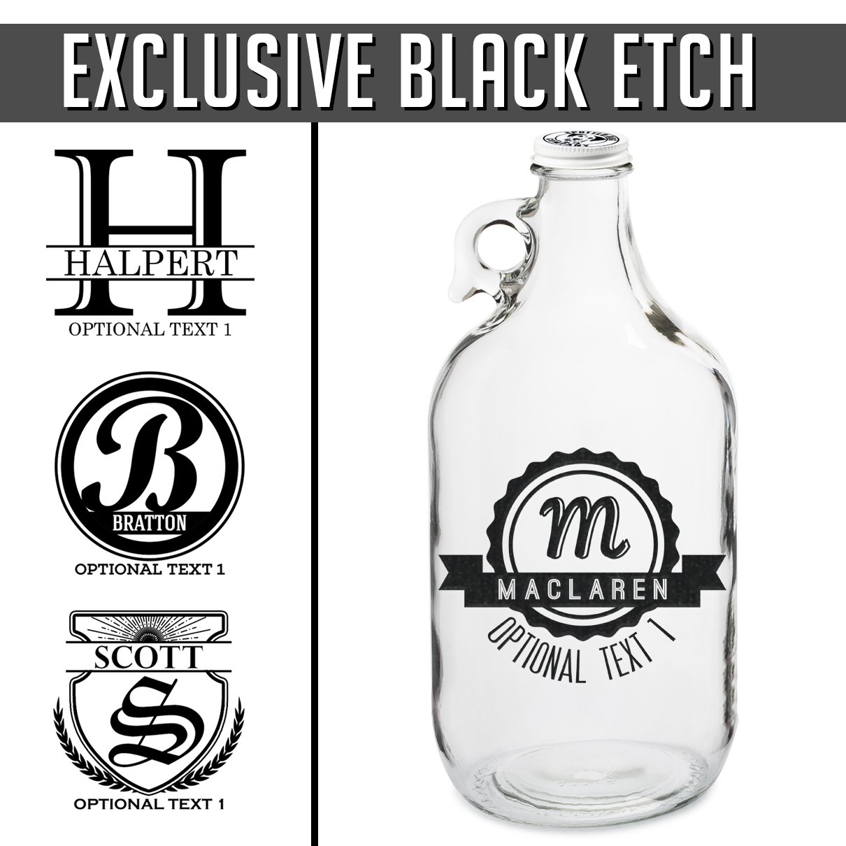 Personalized Black Etched 64oz Clear Glass Beer Growler