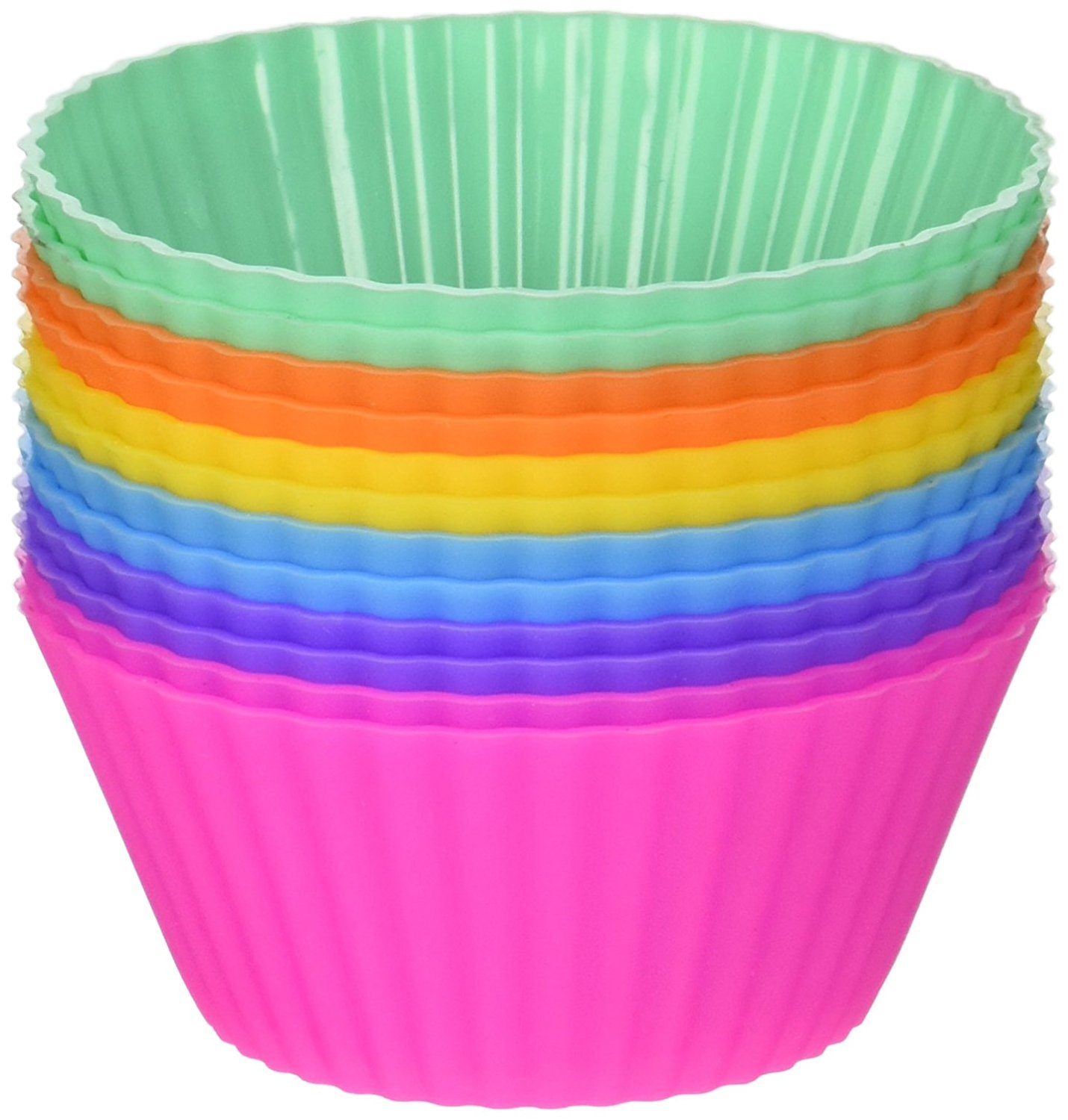 Hulless Reusable Silicone Baking Cups - Set of 12 Nonstick Cupcake Liners in 6 Vibrant Colors