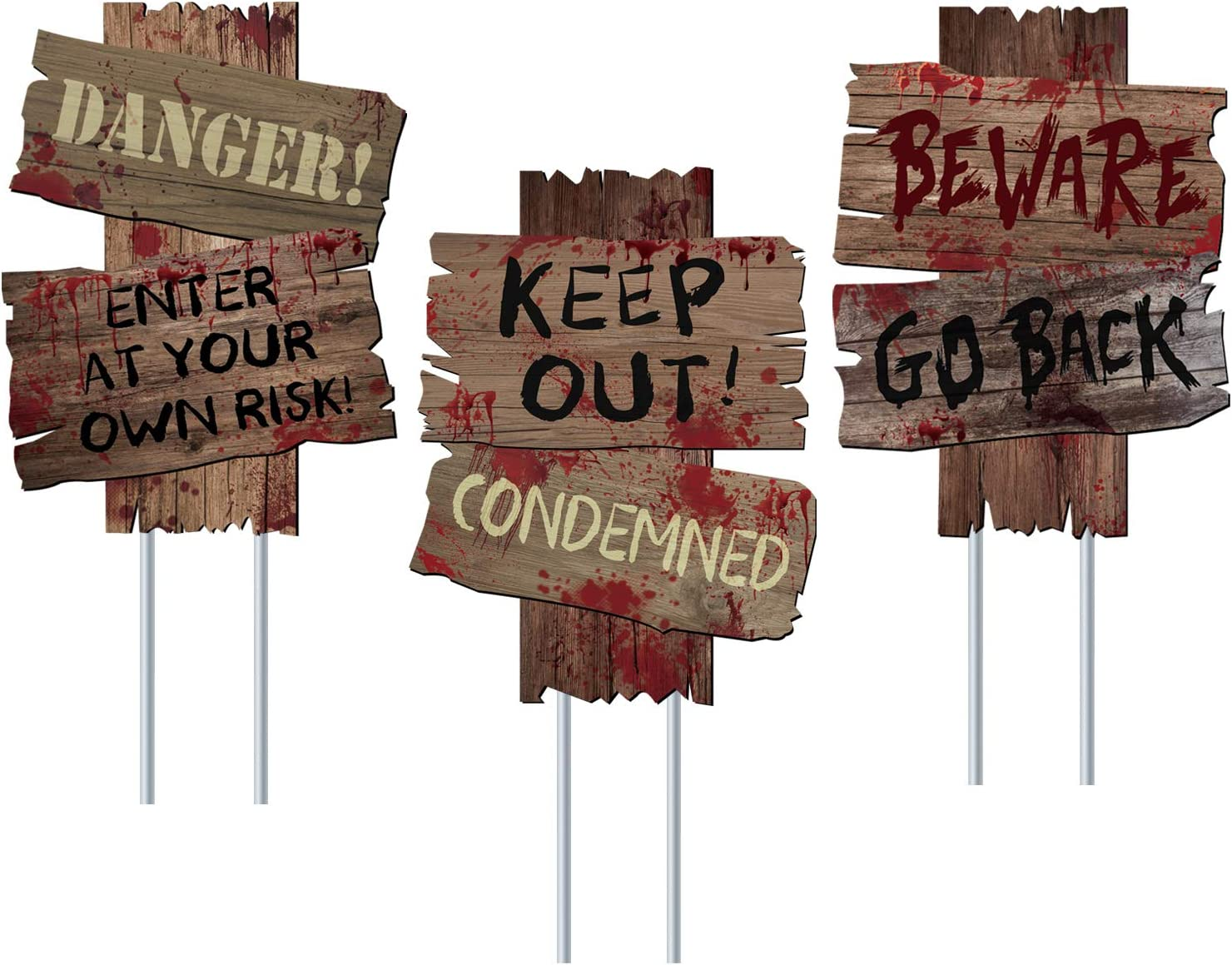 Beware Signs Yard Stakes Halloween Decorations Outdoor Creepy Assorted Warning Signs