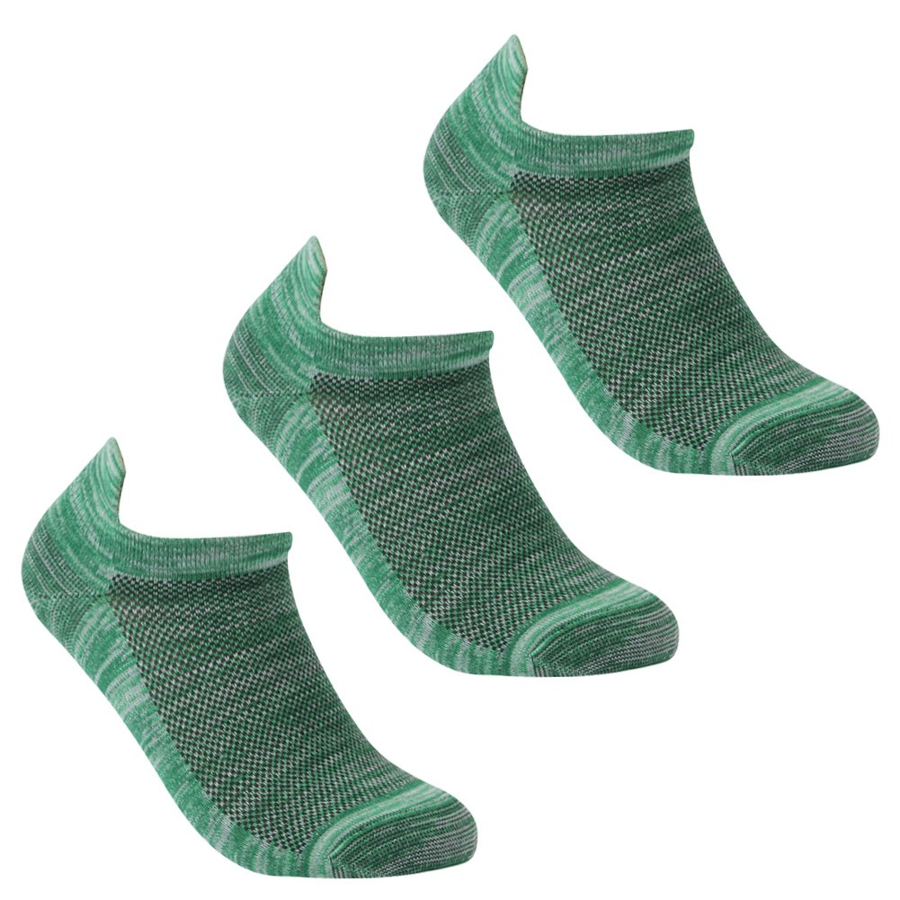 Low Cut Compression Gym Socks, Luccalily Unisex Quick Dry Blister Free Short Travel Hiking Socks 3 Pairs Green,Medium