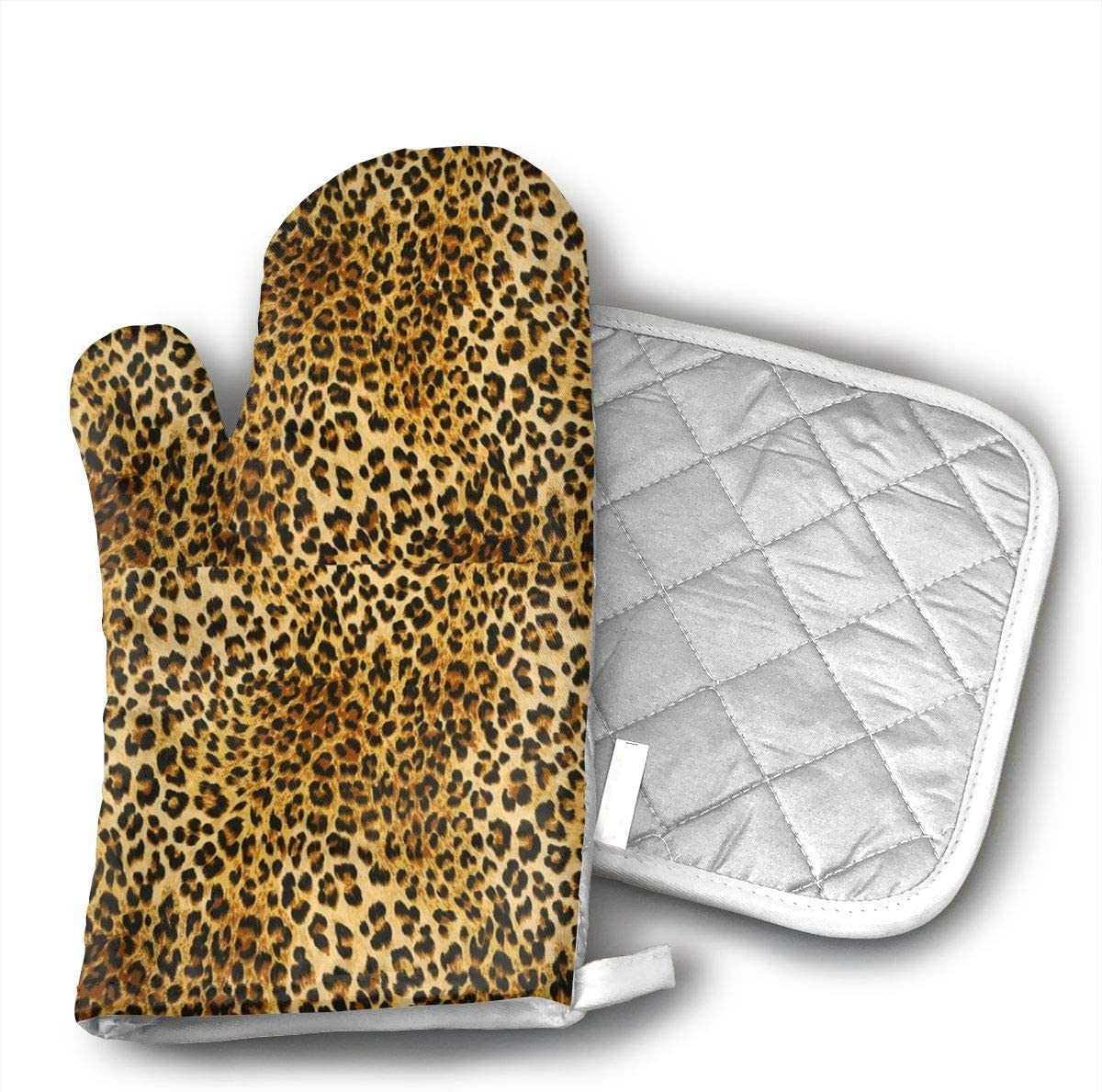FSDGHVFIJTT ujd Leopard Pattern Neoprene Oven Mitts and Potholder Set-Heat Resistant Oven Gloves to Protect Hands and Surfaces with Non-Slip Grip, Hanging Loop-Ideal for Handling Hot Cookware Items