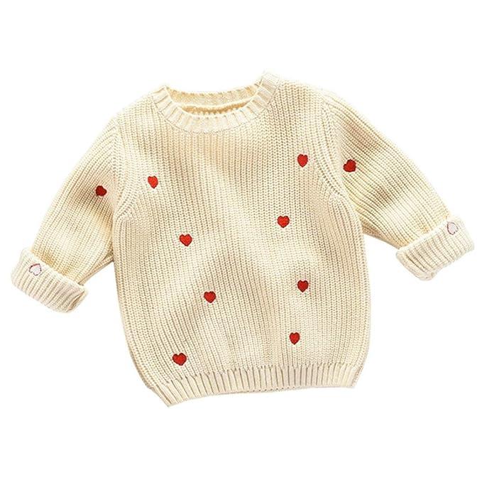 Logobeing Bebé Niños Niñas Corazón Suéter de Punto Suéteres Cálido Abrigo Lindo Ropa 3-6