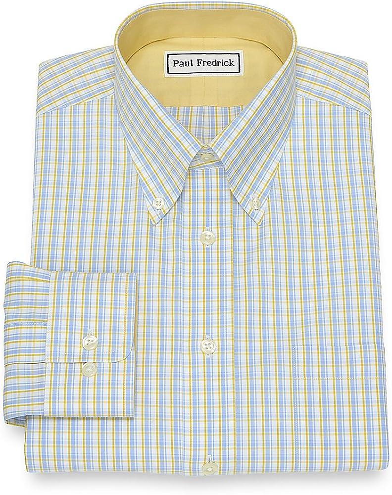 Paul Fredrick Mens Non-Iron Cotton Tattersall Dress Shirt