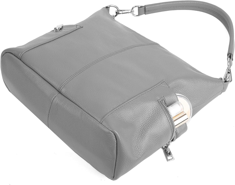 YALUXE Womens Multi Pocket Soft Cowhide Leather Medium Purse Hobo Style Shoulder Bag Grey