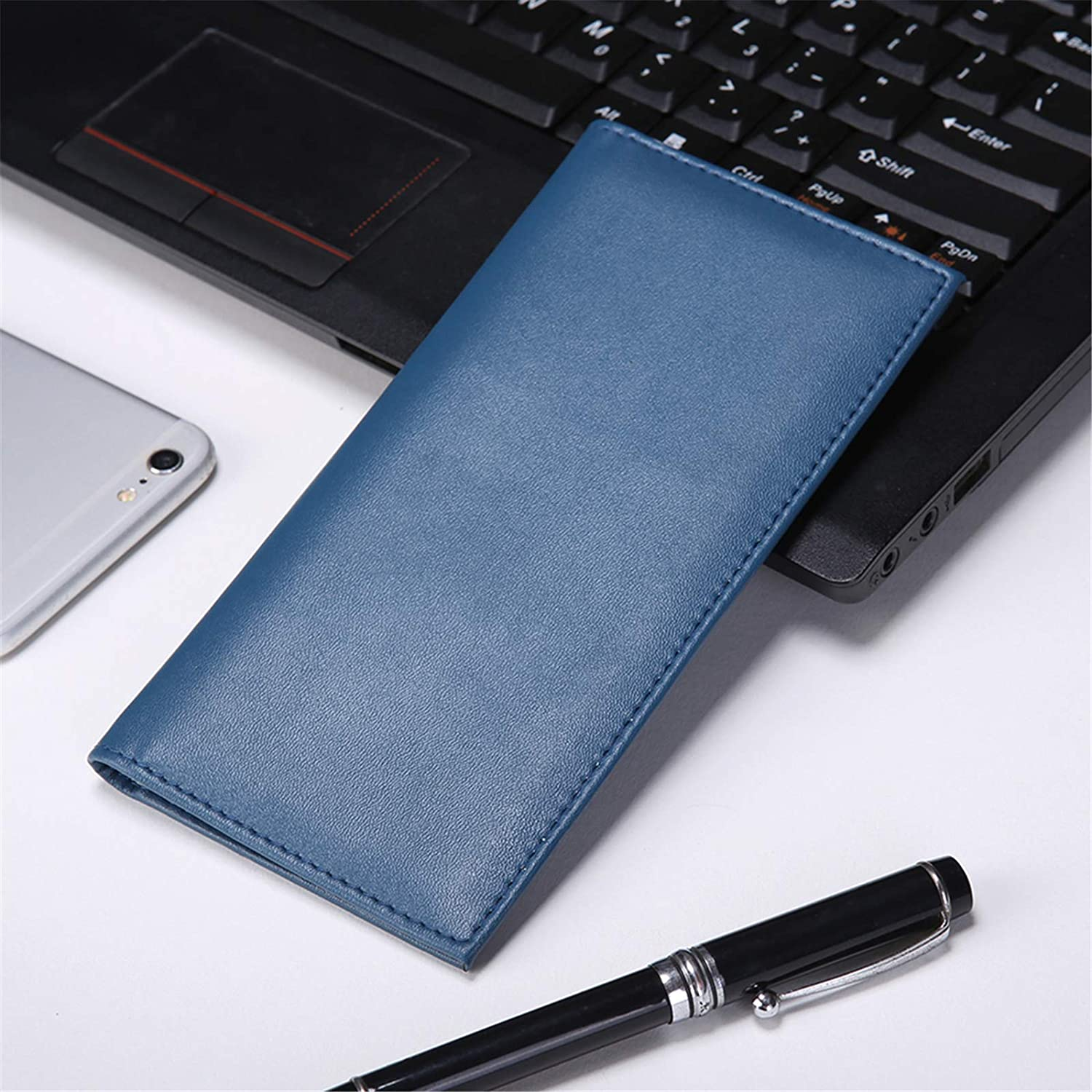 Kookio Leather Checkbook Cover for Register Duplicate Checks Slim Wallet with Pen Holder and Card Slot for Men Women: Clothing