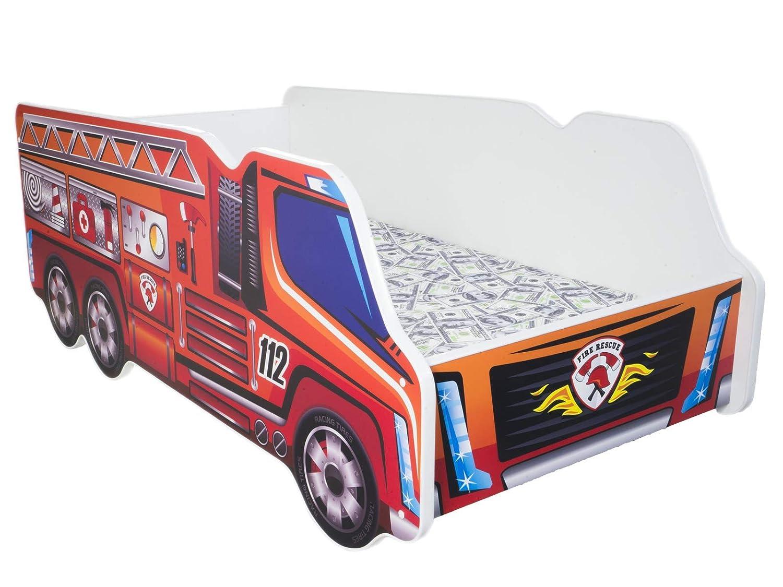 TODDLER CHILDREN KIDS BED INCLUDING MATTRESS CAR TRUCK (Fire Truck) Topbeds