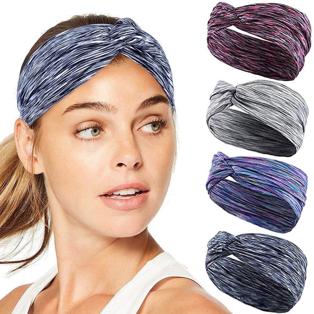 Women Elastic Wide Headband Turban Stretch Sport Running Hair Band Headwrap @*c