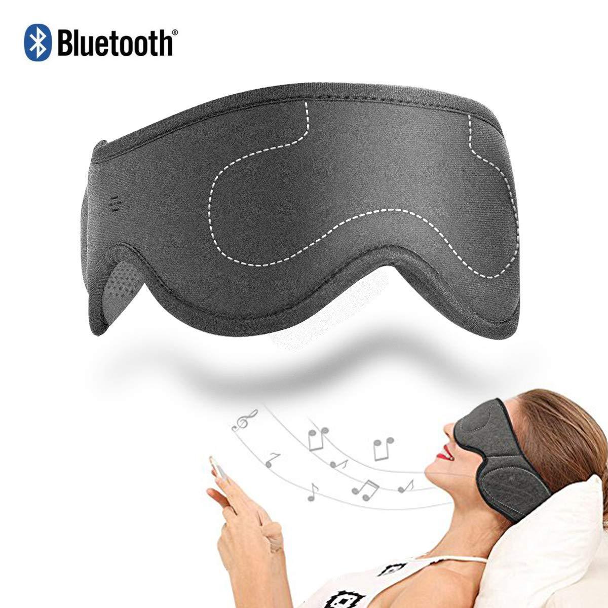 Auriculares AMUOUZI Inalambrico Bluetooth Music Eye Mask con Stereo Speakers Sleeping Cancelacion de Ruido Perfect para