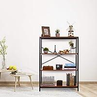 Kemanner 3-Tier Industrial Style Bookcase, Vintage Free Standing Bookshelf