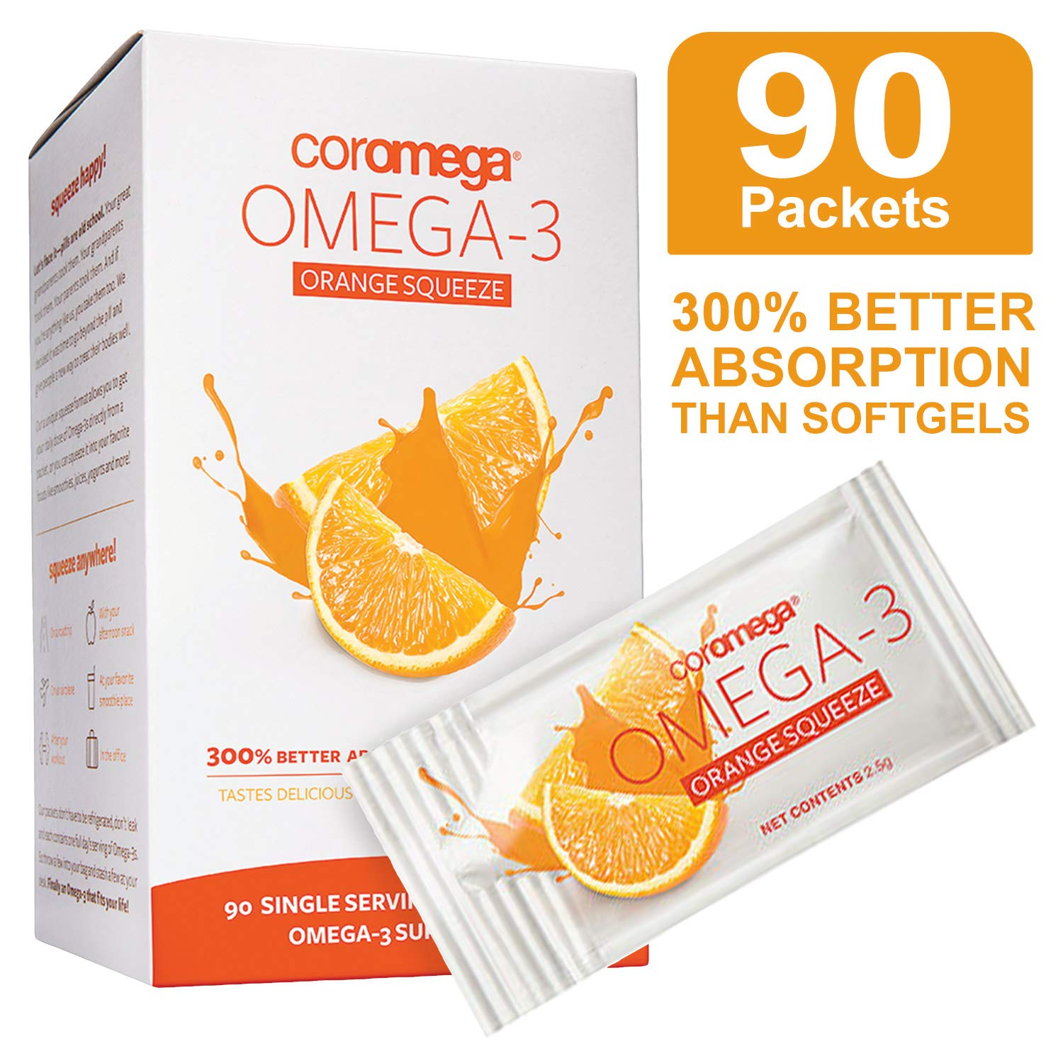 Coromega Omega 3 Fish Oil Supplement, 650mg of Omega-3s with 3X Better  Absorption Than Softgels,